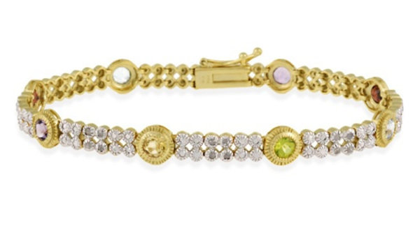 18K G over Sterling Silver 2.3ct Multi Gemstone & Diamond Accent 2-Tone Bracelet