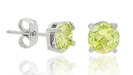 Sterling Silver Light Green CZ Round Stud Earrings, 5mm