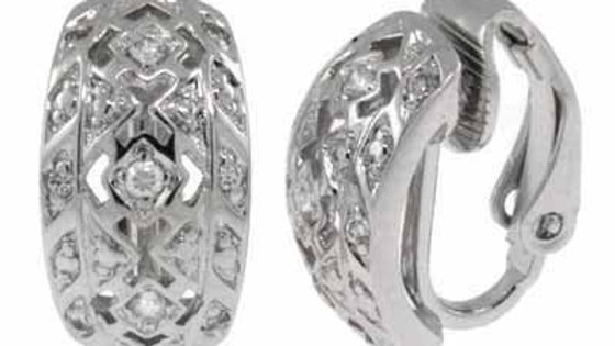 Sterling Silver CZ Design Huggie Earrings