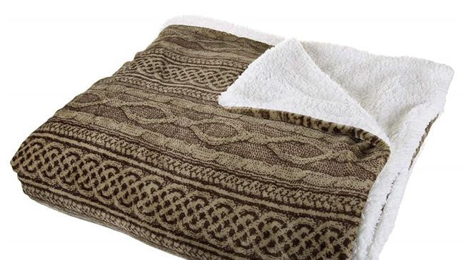 Bedford Home  Flannel & Sherpa Blanket - Full & Queen Size - Chocolate & Taupe