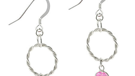 Sterling Silver Pink CZ Heart & Twist Hoop Dangle Earrings