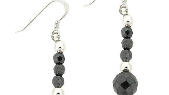Sterling Silver Faceted Hematite Bead Dangle Earrings
