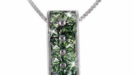 Sterling Silver Olive Green CZ Rectangle Pendant