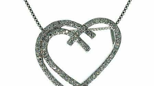 Sterling Silver Simulated Diamond cz Intertwining Heart Pendant