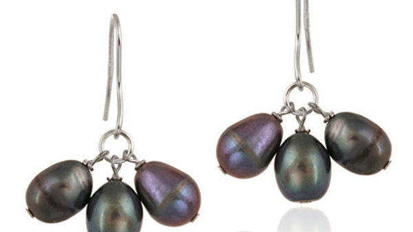 Sterling Silver Freshwater Cultured Peacock Pearl Cluster Dangle Earrings