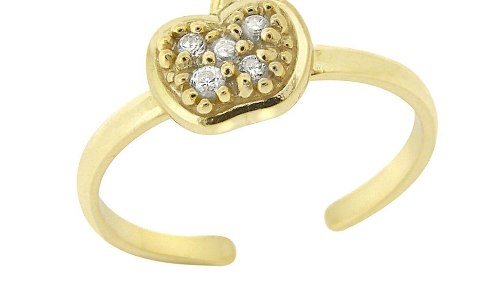 18k Gold over Sterling Silver CZ Apple Toe Ring
