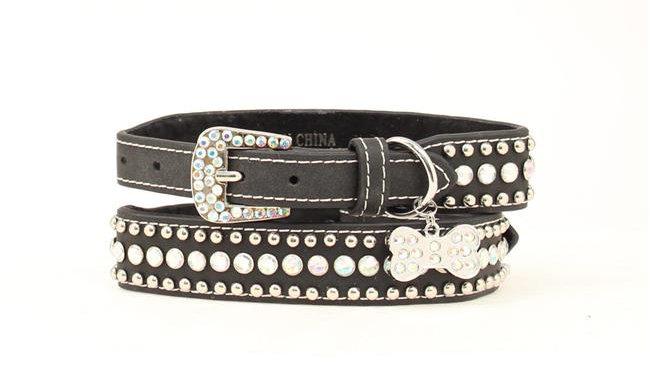 Blazin Roxx 9300801-L Bling Tapered Dog Collar; Black - Large