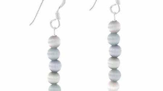 Sterling Silver Gray Cats Eye Beaded Dangle Earrings