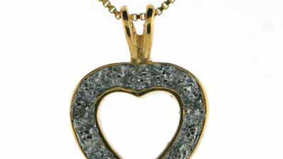 18K Gold over Sterling Silver Diamond Accent Two Tone Open Heart Necklace