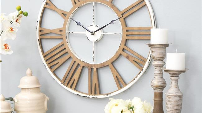 Aspire Home Accents 5933 Janelle Farmhouse Wall Clock; White