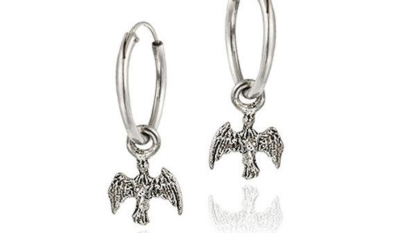 Sterling Silver Dangling Angel Small Hoop Earrings