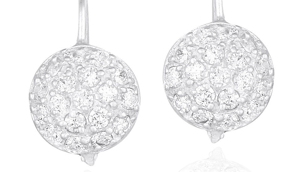 Sterling Silver CZ Round Pave Lever-Back Earrings