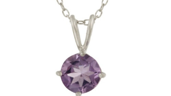 """Sterling Silver 1.2ct TGW Amethyst 7mm Round Solitaire Pendant, 18"""""""