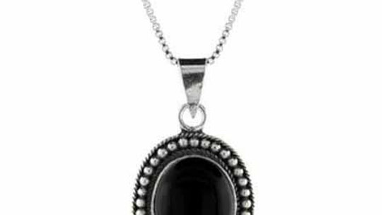 Genuine Onyx Stone Sterling Silver Bali Beaded Oval Pendant