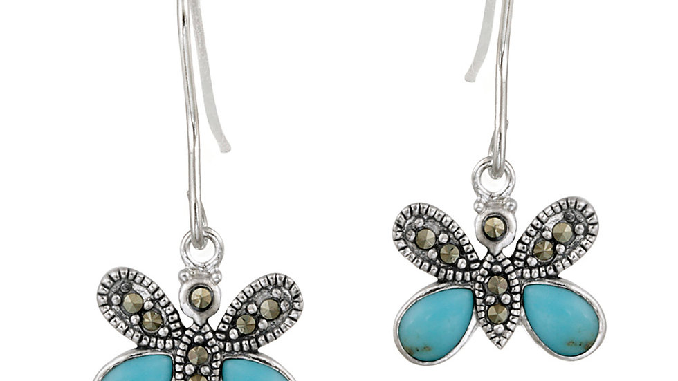 Sterling Silver Marcasite & Created Turquoise Butterfly Earrings