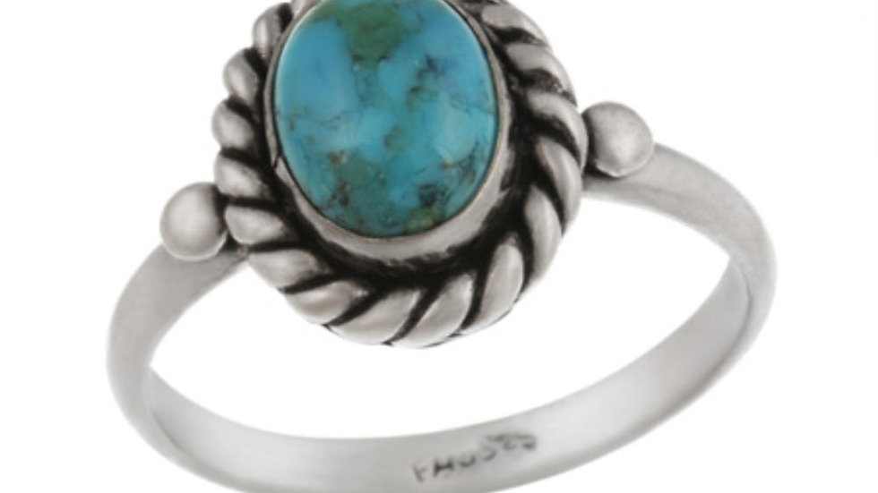 Sterling Silver Turquoise Vintage Solitaire Ring Size 8