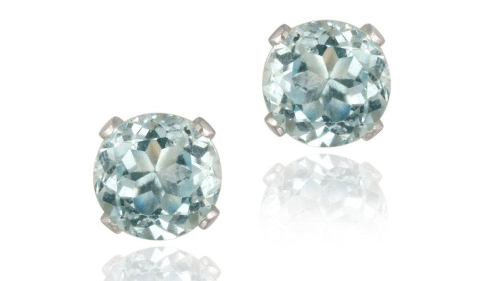 14K White Gold 1.1ct Blue Topaz Stud Earrings, 5mm