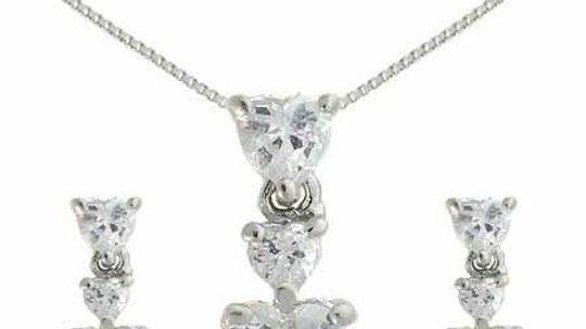 Sterling Silver Sim. Diamond cz Graduating Heart Earring & Slide Pendant Set
