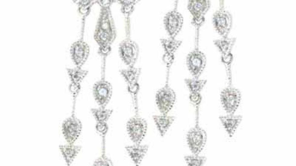 Sterling Silver Simulated Diamond CZ Three strand Cross Chandelier Earrings