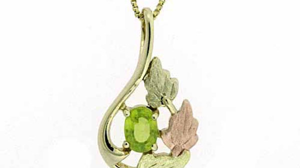18K Gold over Sterling Silver Two Tone Rose Gold Peridot Leaf Teardrop Pendant
