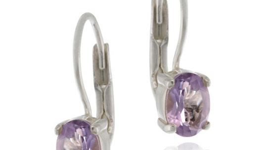 Sterling Silver Amethyst Oval Lever-Back Earrings