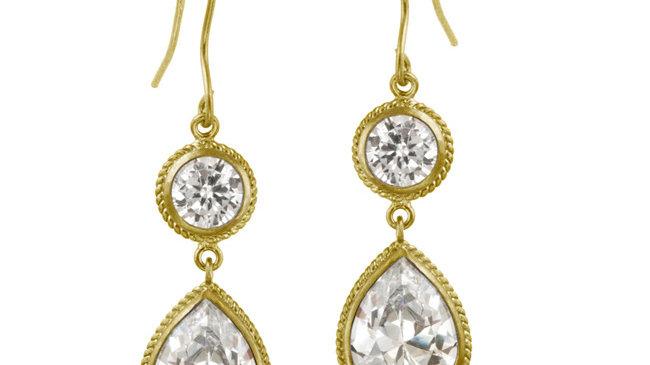 18K Gold over Sterling Silver CZ Circle & Teardrop Dangle Earrings