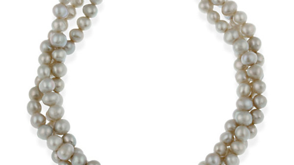 Sterling Silver Freshwater Cultered Gray Pearl Three Row Twisted Bracelet