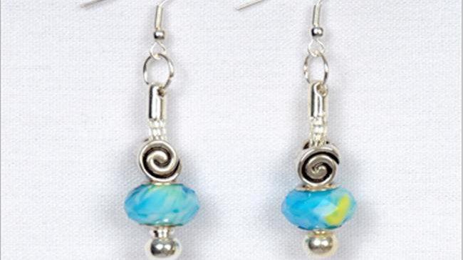 Aqua & Yellow Bead Earrings