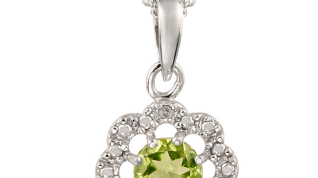 Sterling Silver Peridot & Diamond Accent Flower Pendant