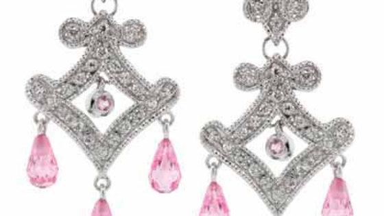 Sterling Silver Pink & White CZ Chandelier Earrings
