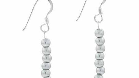 Sterling Silver Simulated Gray Pearl Stone 6 Bead Beaded Dangle  Earrings