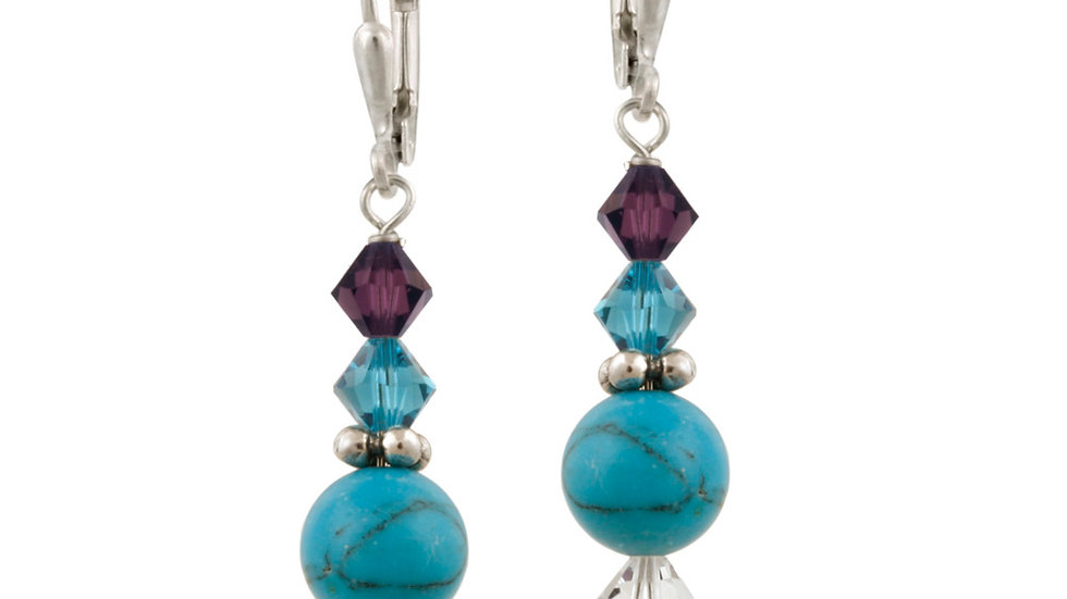 Sterling Silver Created Turquoise & Swarovski Elements Dangle Leverback Earrings