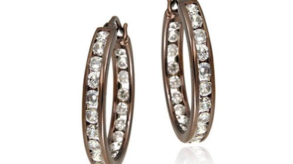 Sterling Silver CZ Brown Inside-Out Hoop Earrings, 20mm