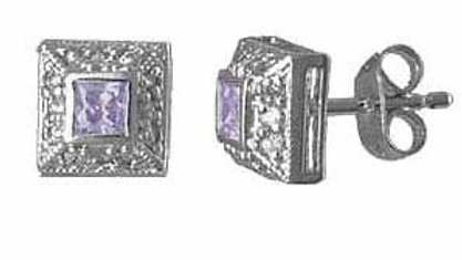 Sterling Silver Lavender CZ and Simulated Diamond CZ border Square Post Earrings