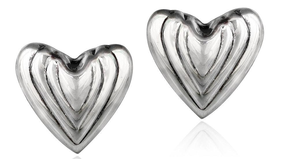 Sterling Silver Lined Heart Stud Earrings