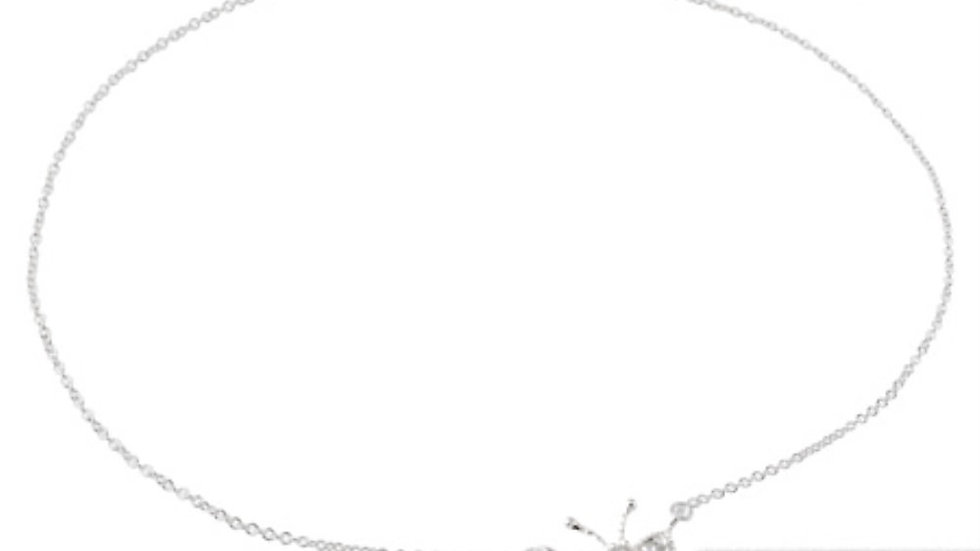 Sterling Silver CZ Butterfly Anklet