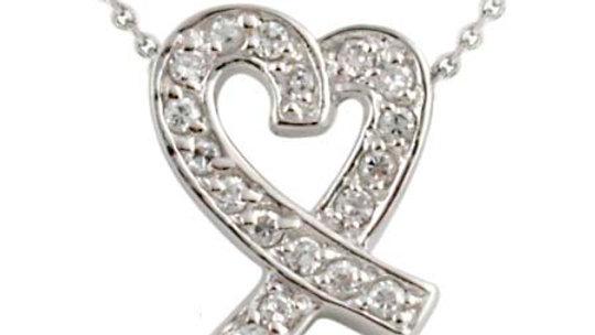 Sterling Silver Designer-Inspired CZ Ribbon Heart Slide Pendant