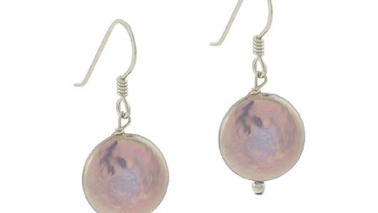 Sterling Silver Freshwater Cultured Iridescent Gray Coin Pearl Dangle Earrings