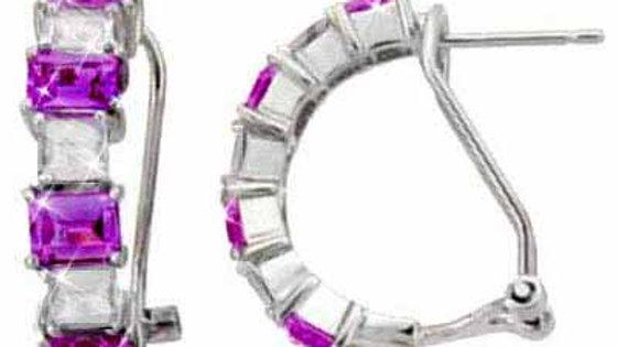 Sterling Silver Amethyst and Colorless CZ Half Hoop Earrings