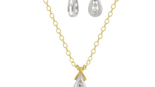 "18K G over Sterling Silver Two Tone CZ ""X"" and Teardrop Pendant & Earrings Set"