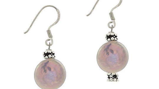 Sterling Silver Gray Freshwater Cultured Coin Pearl & Bali Bead Earrings