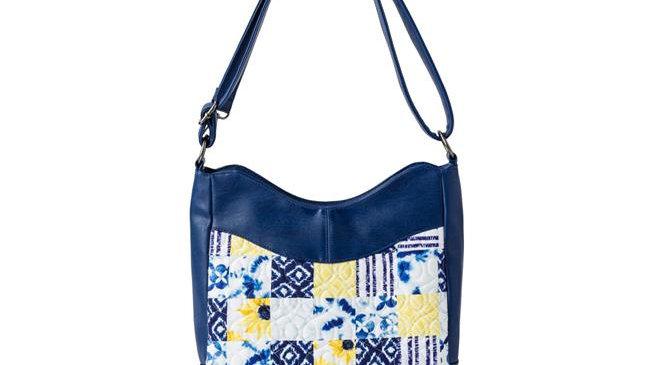 American Heritage Textiles  Michelle Handbag; Cobalt Sun - 13.5 x 9.5 x 4 in.