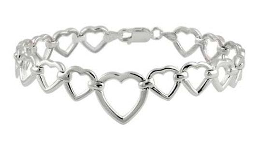 Sterling Silver Open Hearts Link Bracelet