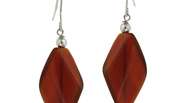 Sterling Silver Carnelian Geometric Dangle Earrings