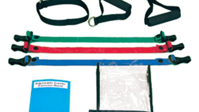 Cando 10-3232 Adjustable Exercise Band Kit - 3 Band - Red  Green  Blue