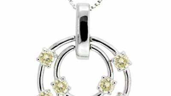 Sterling Silver Floating Champagne CZ Double Circle Pendant