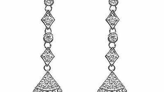 Sterling Silver CZ Chandelier Dangle Earrings