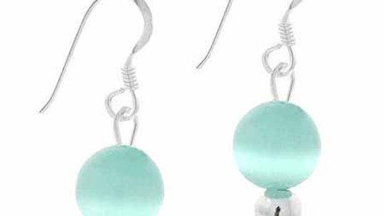 Sterling Silver 6mm Teal Cats Eye Bead Dangle Earrings