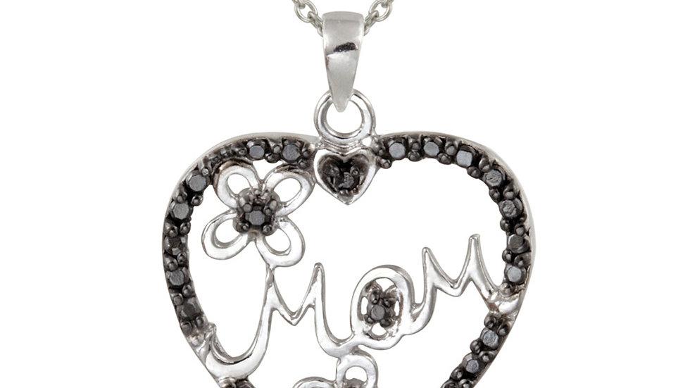 "Sterling Silver Black Diamond Accent Mom Heart Pendant, 18"""