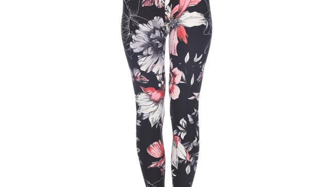 White Mark Womens Printed Leggings; White; Coral & Black - One Size Fits Most